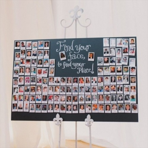 an escort chart made of Polaroids with guest faces - what can be easier and cuter to DIY for a wedding