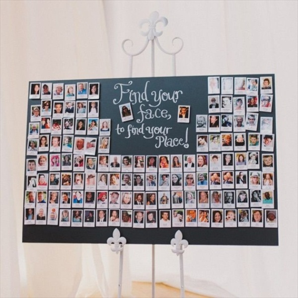 an escort chart made of Polaroids with guest faces   what can be easier and cuter to DIY for a wedding