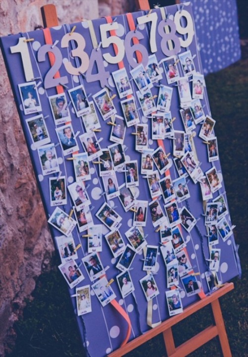 a seating chart made with numbers and Polaroids of the guests - DIY one yourself with no problems