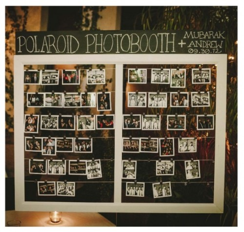 a Polaroid photobooth with pics that your guests may attach here is a great alternative to a usual wedding guest book