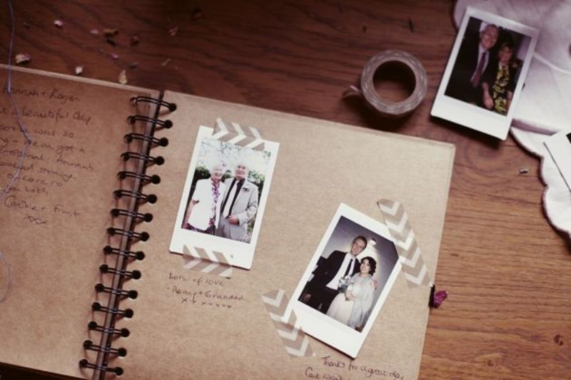 a wedding guest book with Polaroids of your guests attached and some wishes from them is a super cute idea to rock