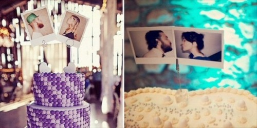 top your wedding cake with your fun Polaroids, it's a great way to personalize it easily