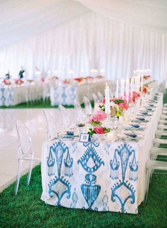 Picture Of trendy printed tablecloth wedding inspirational ideas  1
