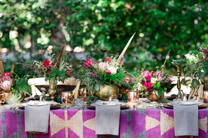 Picture Of trendy printed tablecloth wedding inspirational ideas  12