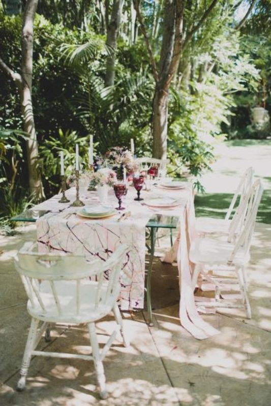 Picture Of trendy printed tablecloth wedding inspirational ideas  14