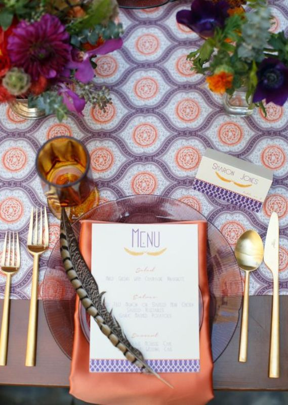 Picture Of trendy printed tablecloth wedding inspirational ideas  2