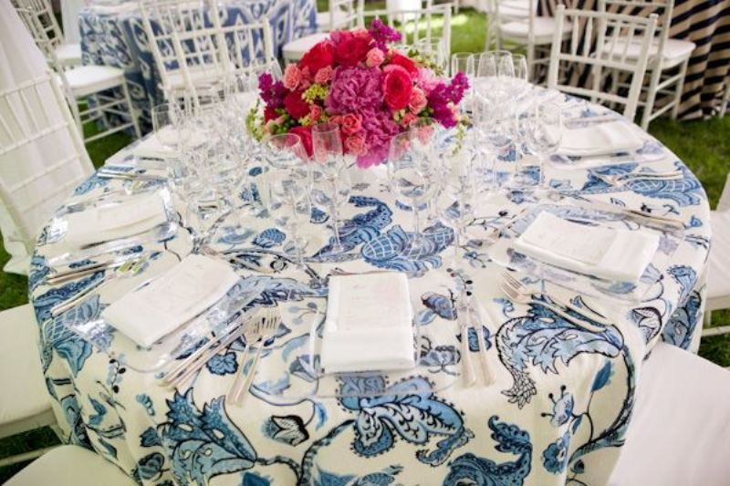 Picture Of trendy printed tablecloth wedding inspirational ideas  20