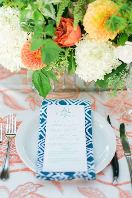 Picture Of trendy printed tablecloth wedding inspirational ideas  8