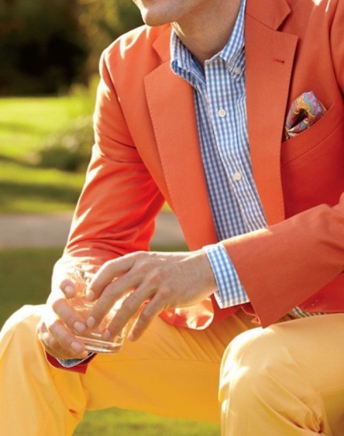 yellow pants, a blue plaid shirt and an orange blazer will make your summer groom's look statement-like