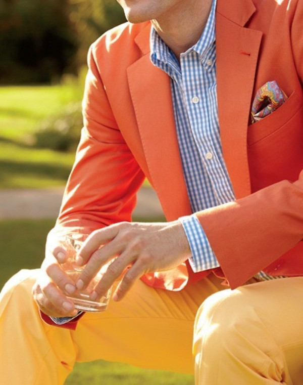 yellow pants, a blue plaid shirt and an orange blazer will make your summer groom's look statement like