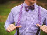 a purple plaid shirt, a printed bow tie and suspenders will make your summer look bold and you won't feel hot