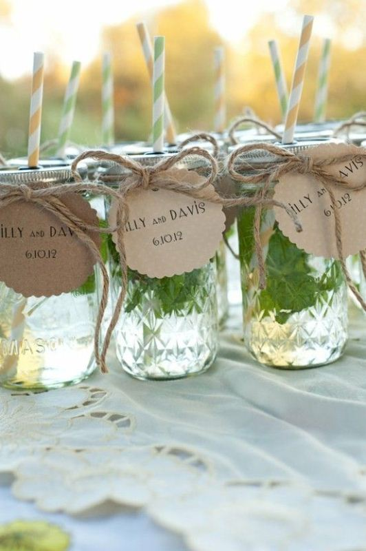 jars with fresh mojito or just mint cocktails and tags are amazing to refresh everyone at a hot weather wedding