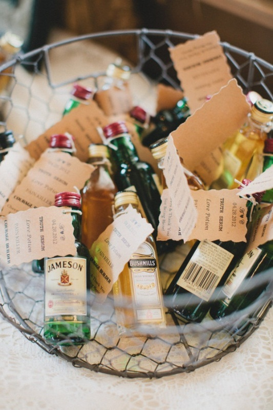 mini bottles with various kinds of alcohol and tags to let your guests choose themselves what they like most of all