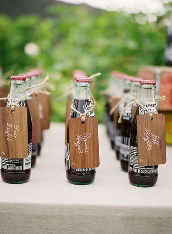 Coke bottles with tags are nice soft drink idea for any warm weather wedding, suitable for both kids and adults