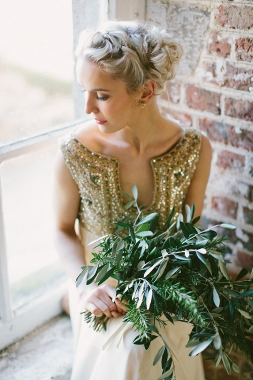 a textural greenery wedding bouquet is a nice option if you have a neutral or glitter wedding dress
