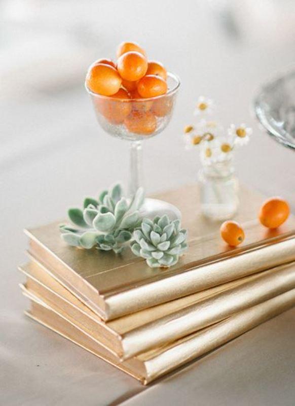 Picture Of fresh and bright kumquat wedding decor ideas  4