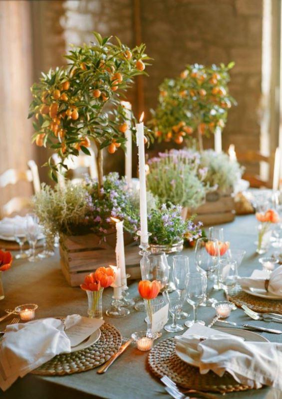 Picture Of fresh and bright kumquat wedding decor ideas  5