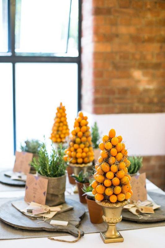 Picture Of fresh and bright kumquat wedding decor ideas  9
