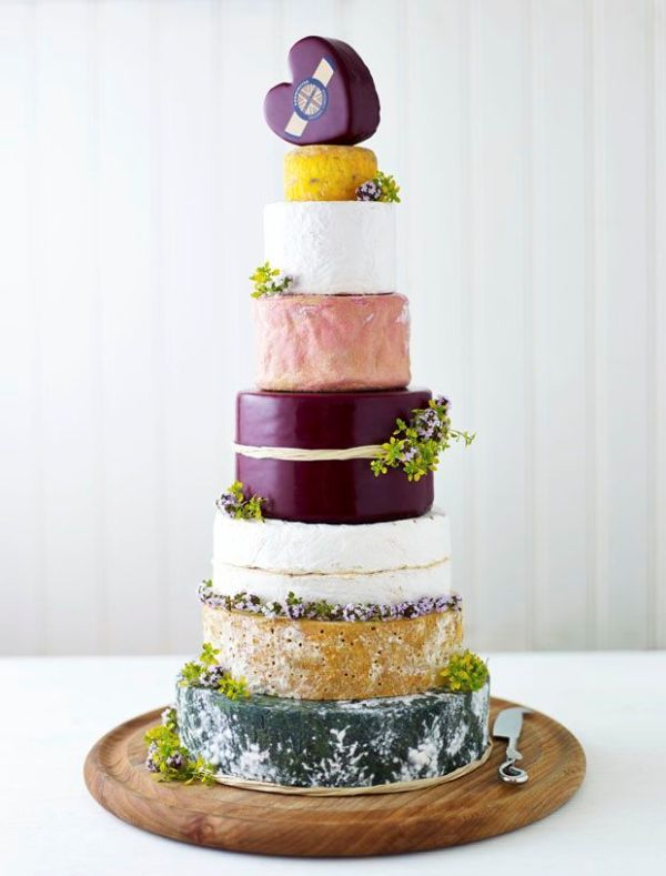 Picture Of non traditional cheese wheel wedding cakes  10