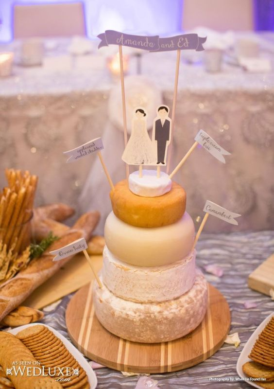 Picture Of non traditional cheese wheel wedding cakes  11
