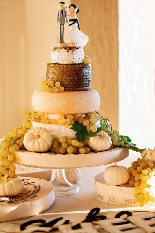 Picture Of non traditional cheese wheel wedding cakes  16