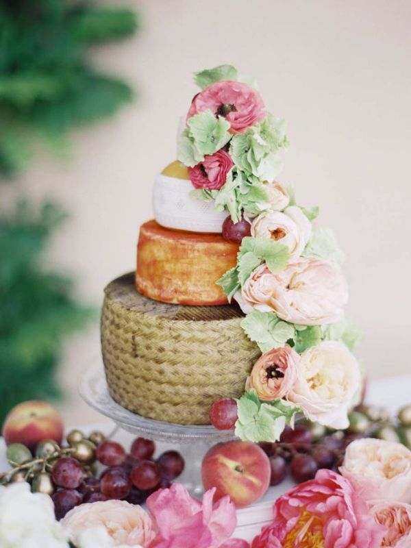 Picture Of non traditional cheese wheel wedding cakes  18