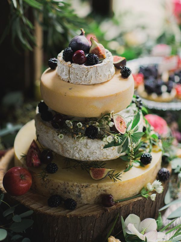 Picture Of non traditional cheese wheel wedding cakes  2