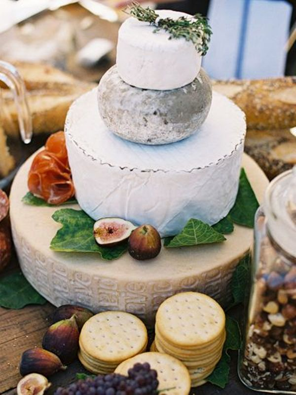 Picture Of non traditional cheese wheel wedding cakes  6