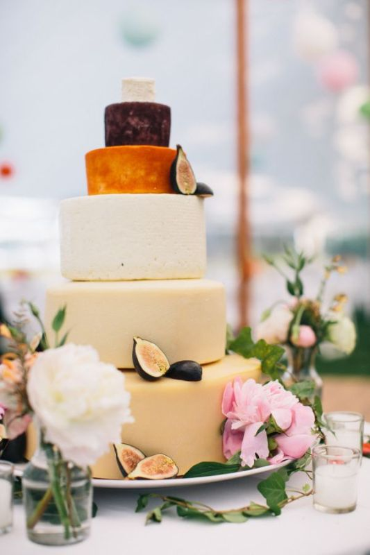 Picture Of non traditional cheese wheel wedding cakes  7