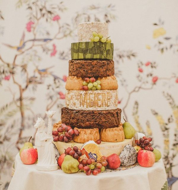 Picture Of non traditional cheese wheel wedding cakes  8
