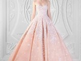 a strapless peach wedding ballgown with a white lace appliques and rhinestones all over is a chic and beautiful idea