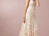 an A-line petal wedding dress with an ombre effect – a pink touch on the skirt, thick straps and a scoop neckline is a gorgeous idea