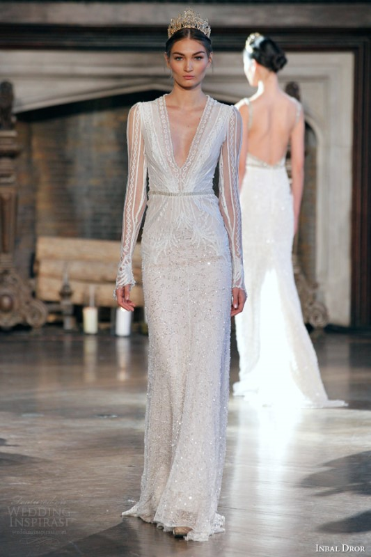 Picture of seductive and elegant plunging neckline wedding for Plunge neck wedding dress