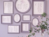 a stylish wall-mounted vintage seating chart of grey frames is a very elegant idea, it won't take space and can be DIYed