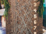 a plywood and string art seating chart with numbers and names is a very creative and fun idea – let each guest find the place