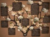 a rustic seating chart idea with a tree, fabric blooms and plaques with tables is a beautiful idea
