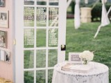 a vintage door as a seating chart is a stylish idea for a vintage wedding, you can easily DIY it