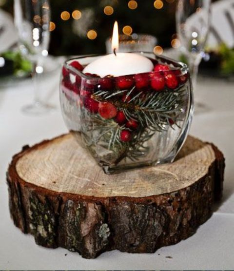 Picture Of A Rustic Winter Wedding Centerpiece Of A Wood