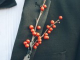 a rustic and very simple berry boutonniere is a bold accent for a groom or groomsmen