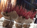rustic decorations or centerpieces of blooms in burlap can be easily DIYed for your winter wedding