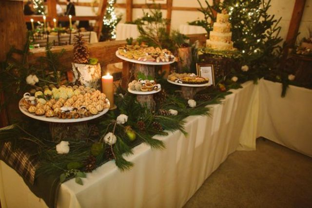 style your food stations and drink bars with ornaments, evergreens and pinecones