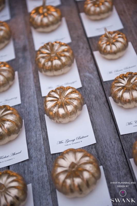 beautiful mini gilded pumpkins with cards are lovely wedding escort cards and favors for a fall wedding