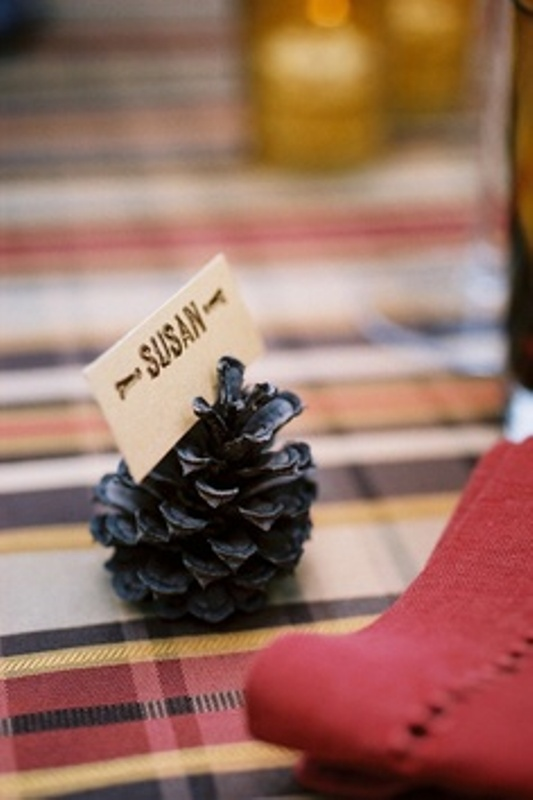 pinecones with cards are nice escort cards for a fall or winter woodland wedding