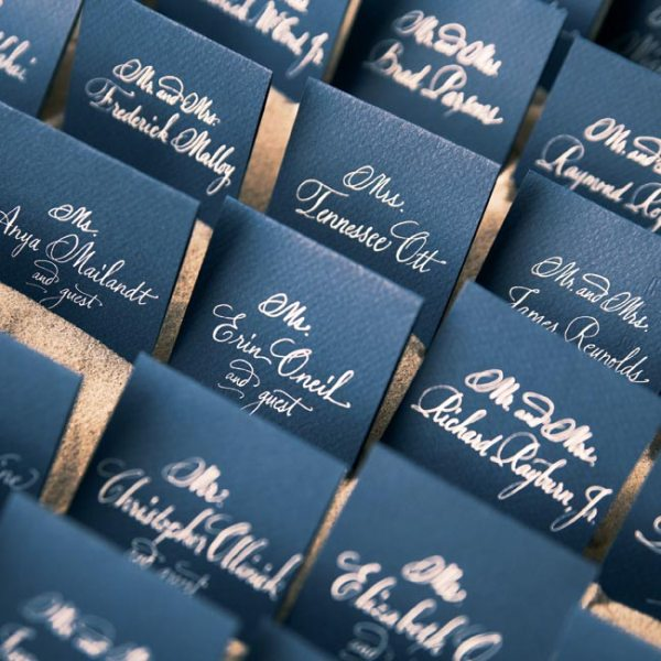 navy cards with silver calligraphy look elegant and chic and fit your wedding and colors