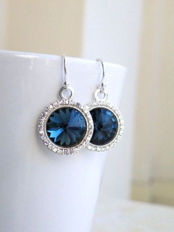 elegant navy and silver statement earrings for the bride or bridesmaids