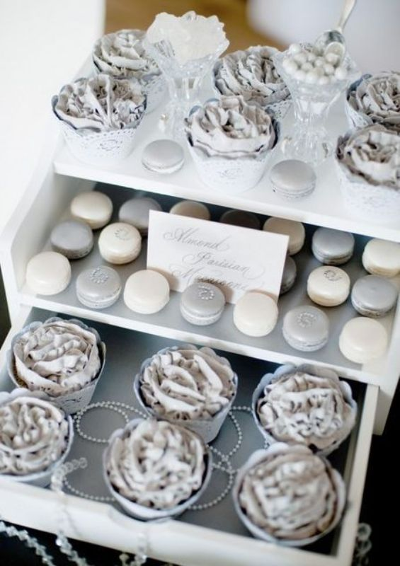 a dessert table with silver sweets   macarons, cupcakes and candies is ideal for a silver and navy wedding
