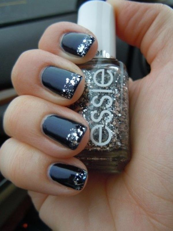 a navy manicure with silver touches is right what a bride needs to incorporate the color scheme into her look