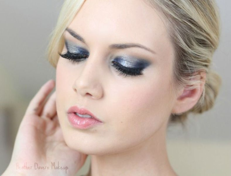 navy and silver smokey eyes are a nice makeup idea for a bride if they fit your complexion and looks
