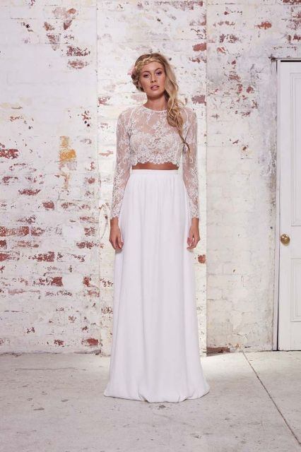 Trendy Beautiful Crop Top Bridal Outfits