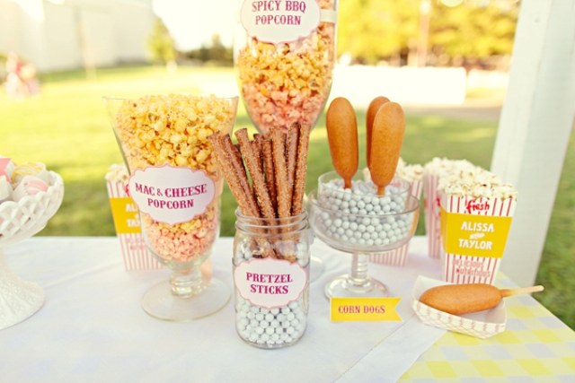 popcorn, pretzel sticks, corn dogs will please the crowd as these are popular snacks